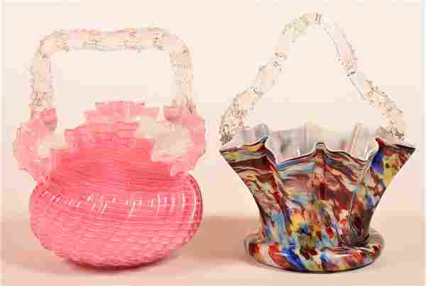 Two Victorian Overlay Glass Bride's Baskets.