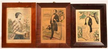 3 Color Lithographs by N Currier and Kellogg