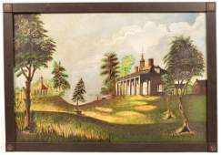 19th Century Oil on Canvas Titled Mount Vernon