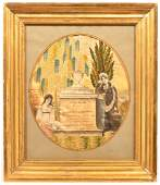 Needlework and Watercolor Mourning Picture