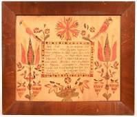 Abraham Huth Fraktur Birth Certificate.