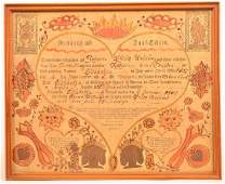 Friederich Krebs Birth and Baptismal Certificate.