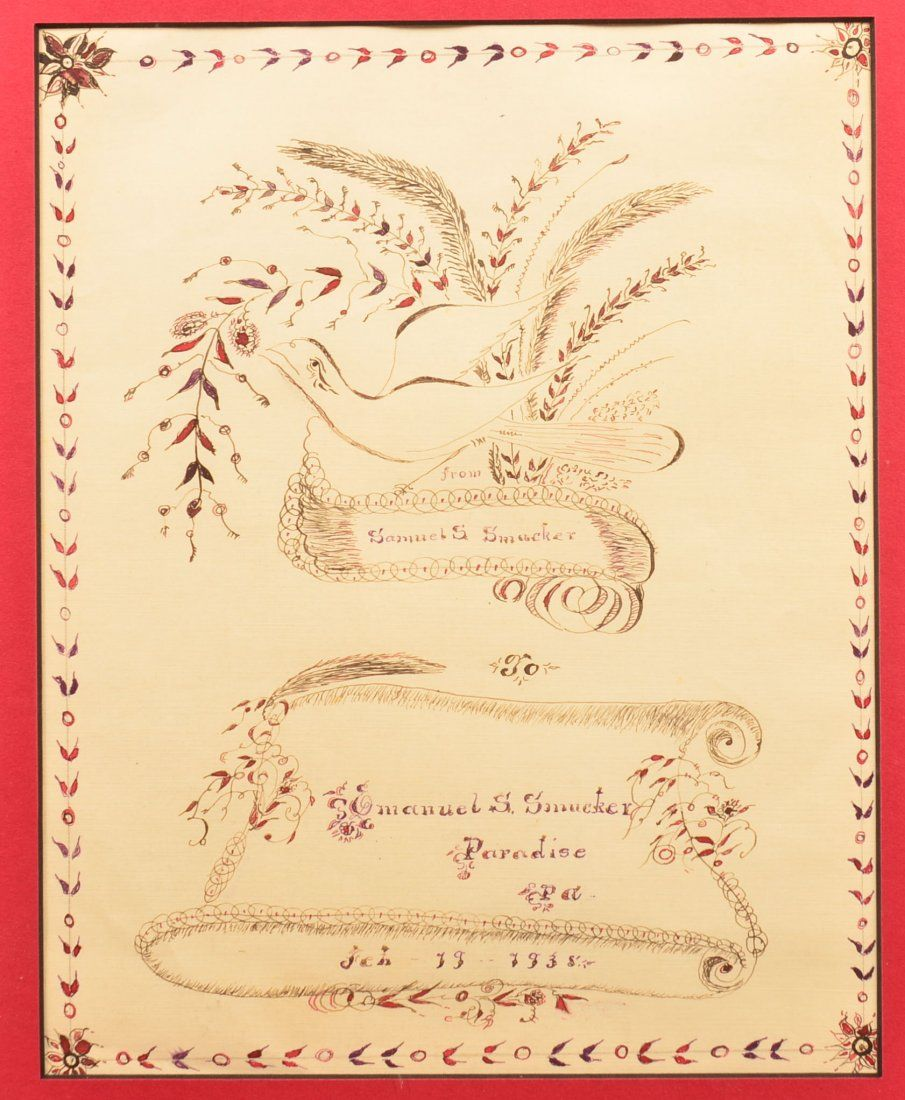 Lancaster County Amish Calligraphy Drawing.