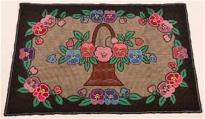 Lancaster Co Amish Flower Basket Hooked Rug