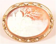 Antique 14K Yellow Gold Shell Cameo Pin.