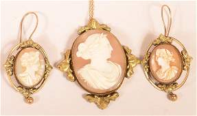 Victorian Shell Cameo Pendant and Earring Set