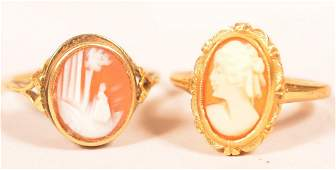 Two Antique 14K Yellow Gold shell Cameo Rings