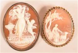 Two Antique Shell Cameo Pins