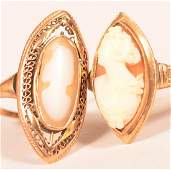 Two Antique 10K Yellow Gold Shell Cameo Rings