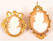 Two Antique Carved Shell Cameo Pins