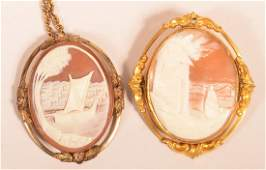 2 Antique Carved Shell Cameo Pendants