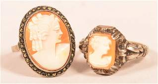 Two Antique Silver Shell Cameo Rings