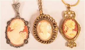3 Various Shell Cameo Pendants with Chains