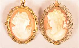 Two Shell Cameo Pin/Pendants with Chains.