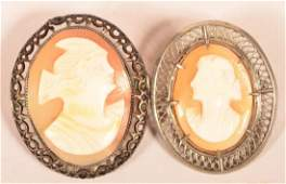 Two Sterling Frame Antique Shell Cameo Pins.