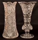 Two American Colorless Brilliant Cut Glass Vases