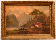 Signed Behne Oil on Canvas Landscape