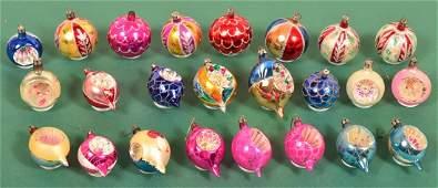 24 Various Vintage Glass Christmas Ornaments.