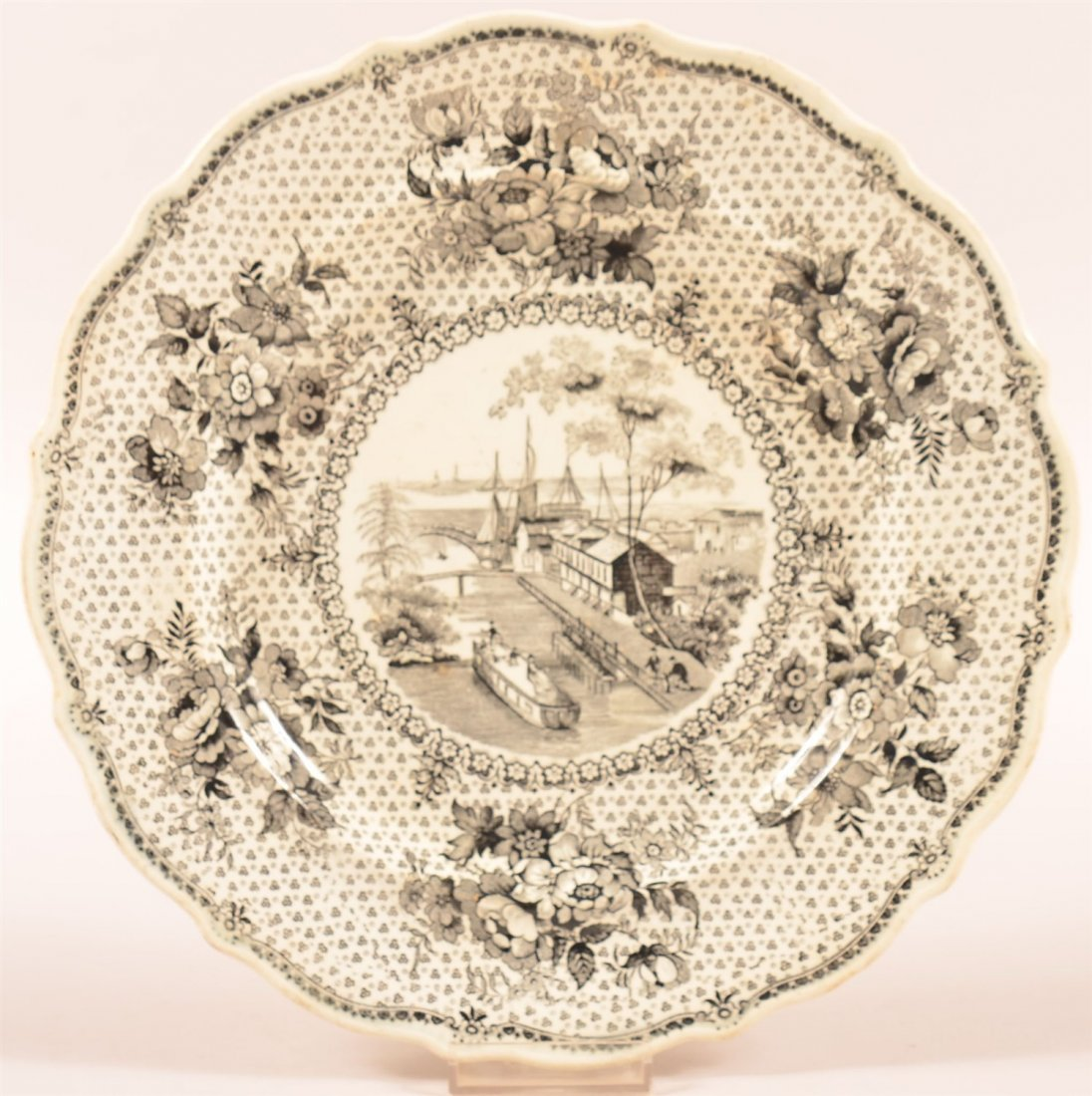 19th C. Staffordshire Plate Erie Canal @ Buffalo