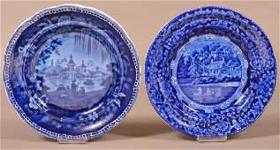 Blue Transfer Staffordshire China Pair of Plates