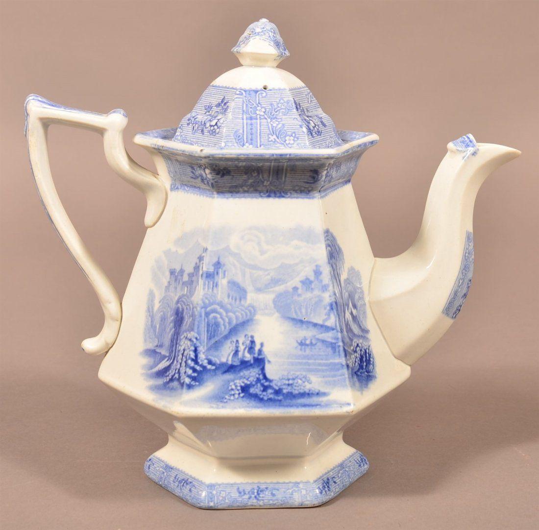 19th C. Ironstone Blue Transferware Coffee Pot