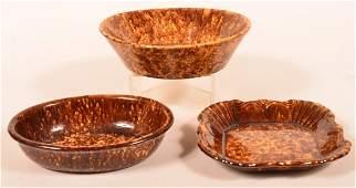Three Pieces of Rockingham Glazed Yellowware.