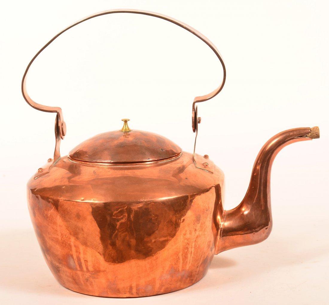 """PA Copper Tea Kettle Signed """"John Getz""""."""