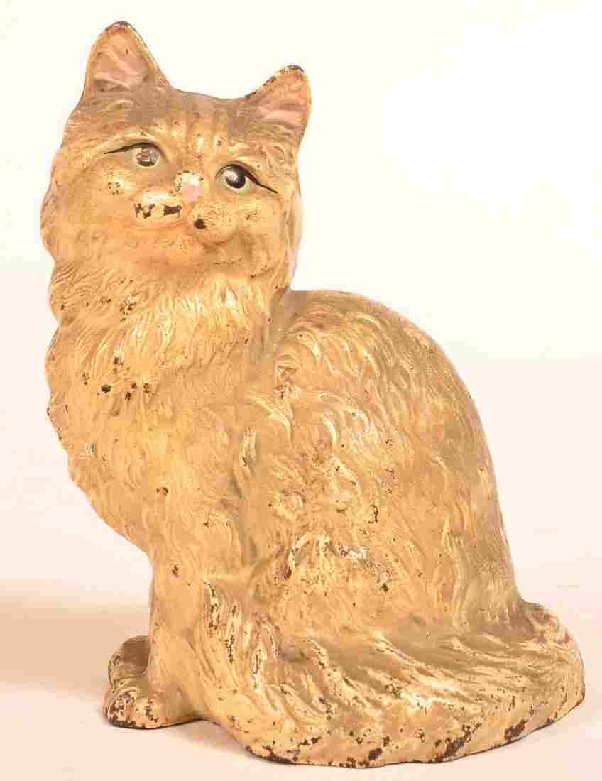 Hubley Cast Iron Persian Seated Cat Doorstop.