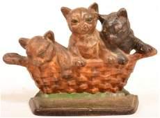 Hubley Cast Iron Basket of Kittens Doorstop
