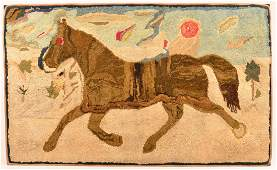 Trotting Horse Finely Hooked Rug.