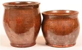 Two PA Glazed Redware Pottery Storage Jars