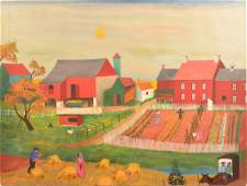D. Ellinger Oil on Canvas of Amish Farm Scene.
