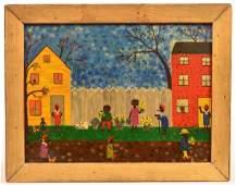 Contemporary Folk Art Oil on Board Painting