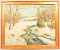 W. E. Baum Oil on Canvas Landscape Painting.