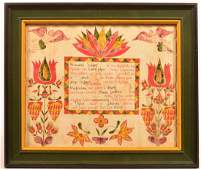 Hand Drawn Birth and Baptism Certificate.