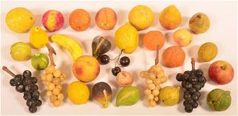 Lot of 30 Pieces Carved and Painted Stone Fruit.