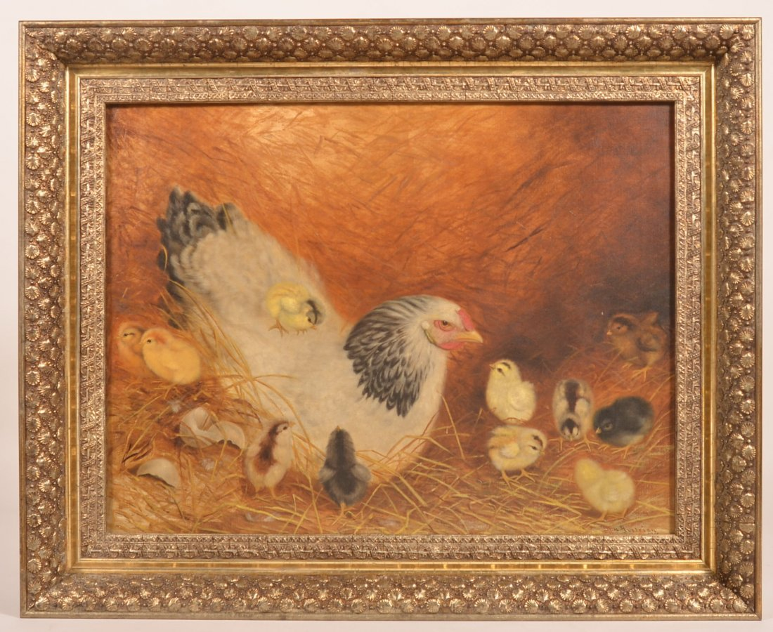 Ben Austrian Painting Hen with 11 Chicks.