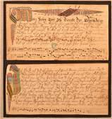Two German Imprint Fraktur Song Bookplates