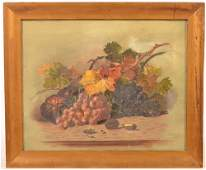 Oil on Canvas Still Life Painting Grapes and Nuts.