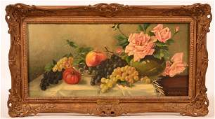 Oil on Canvas Fruit and Floral Still Life.