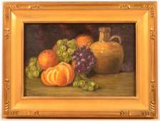 Unsigned Oil on Canvas Fruit Still Life.