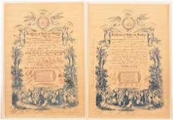 Two Hand Filled Birth and Baptismal Certificates