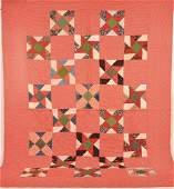 Vintage Geometric Block Pattern Quilt