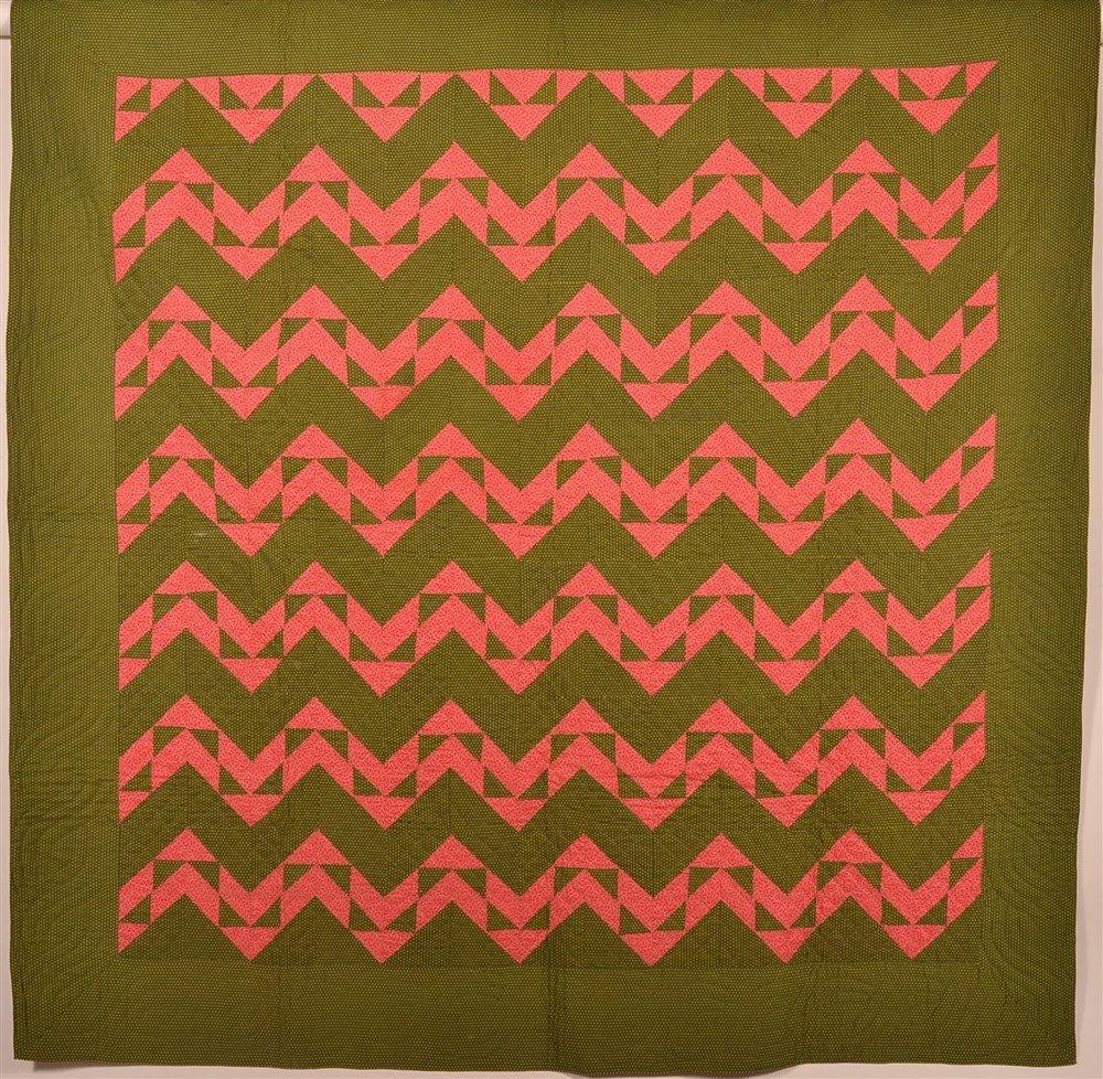 1900s Geometric Zig Zag Pattern Patchwork Quilt
