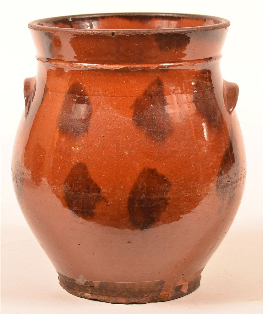 19th Century Redware Mottle Glazed Storage Jar.