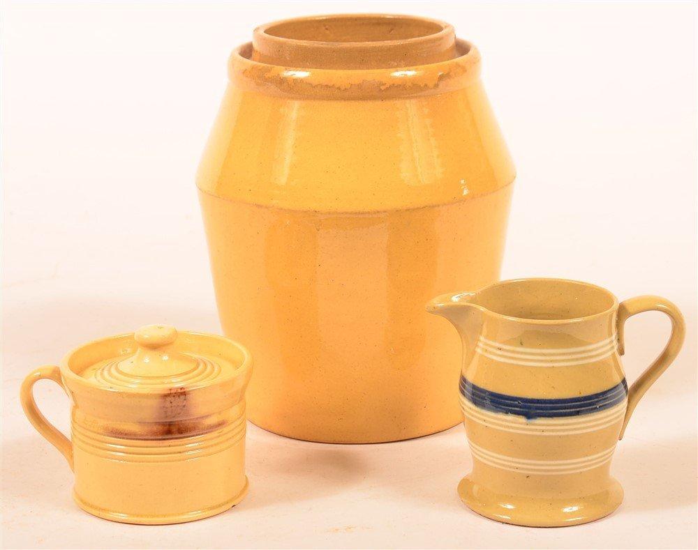 Three Pieces of Glazed Yellowware Pottery.