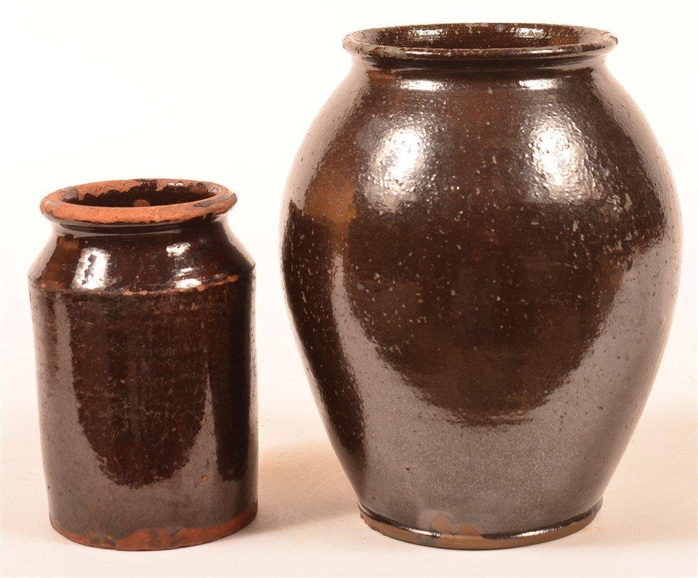 2 Manganese Glazed Redware Pottery Storage Jars