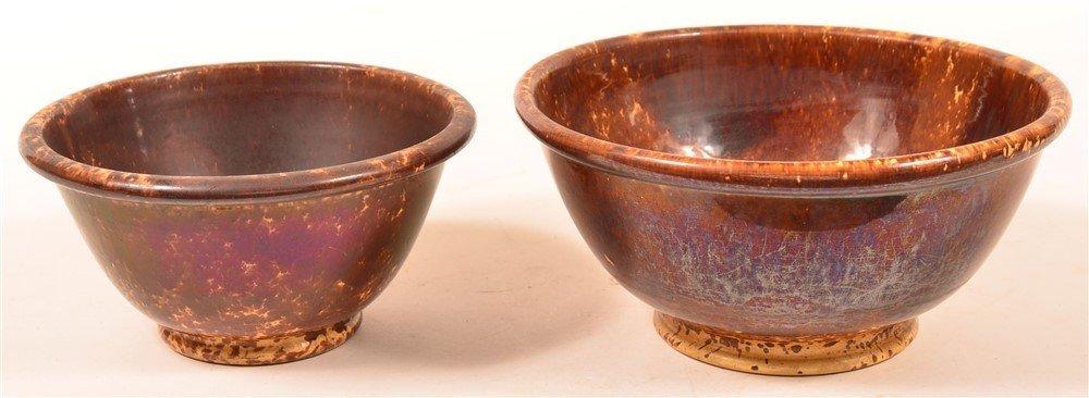 Two Rockingham Yellowware Mixing Bowls.