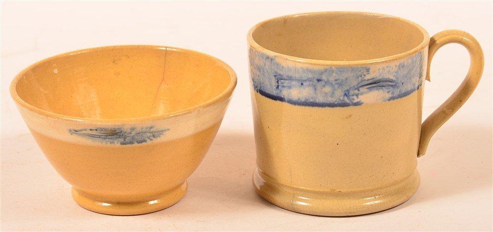 2 Yellowware Mocha Seaweed Decorated Pieces.