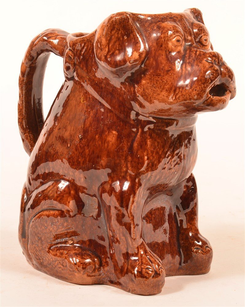 Seated Dog Figural Redware Pottery Pitcher